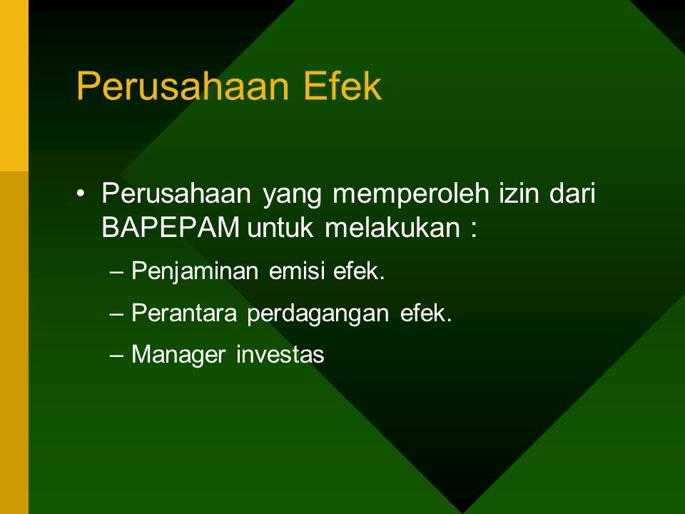 Perusahaan Efek Perusahaan yang memperoleh izin dari BAPEPAM untuk melakukan : –Penjaminan emisi efek. –Perantara perdagangan efek. –Manager investas