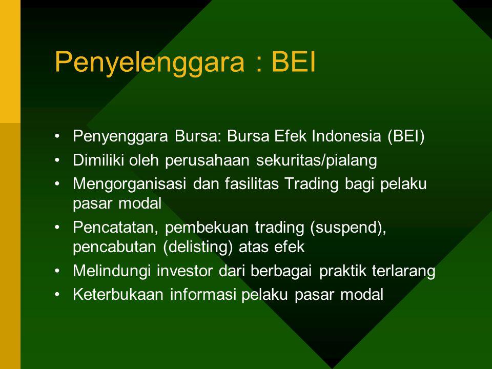 Penyelenggara : BEI Penyenggara Bursa: Bursa Efek Indonesia (BEI) Dimiliki oleh perusahaan sekuritas/pialang Mengorganisasi dan fasilitas Trading bagi
