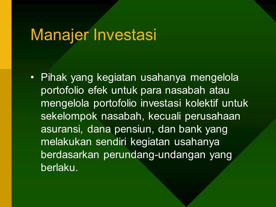 Manajer Investasi Pihak yang kegiatan usahanya mengelola portofolio efek untuk para nasabah atau mengelola portofolio investasi kolektif untuk sekelom