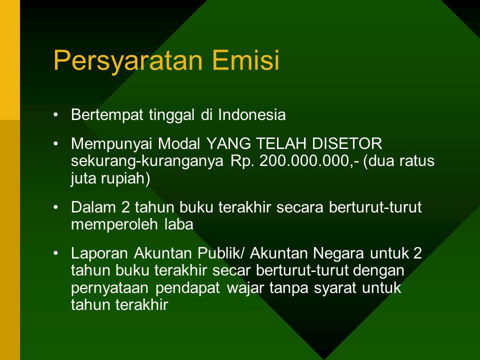 Persyaratan Emisi Bertempat tinggal di Indonesia Mempunyai Modal YANG TELAH DISETOR sekurang-kuranganya Rp. 200.000.000,- (dua ratus juta rupiah) Dala