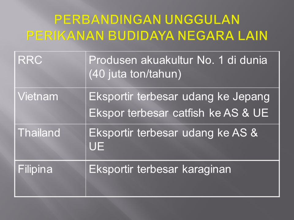 RRCProdusen akuakultur No. 1 di dunia (40 juta ton/tahun) VietnamEksportir terbesar udang ke Jepang Ekspor terbesar catfish ke AS & UE ThailandEksport