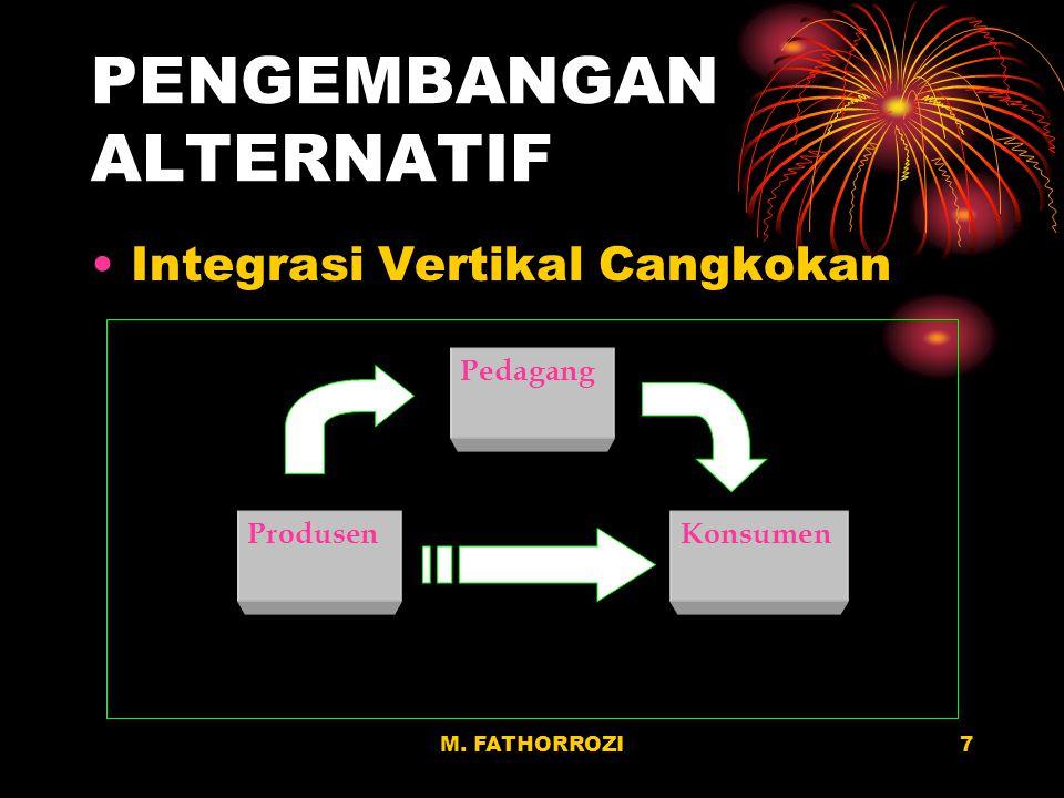 7 PENGEMBANGAN ALTERNATIF Integrasi Vertikal Cangkokan Pedagang ProdusenKonsumen