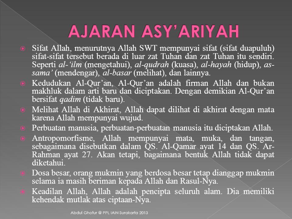  Abdul Hasan Al-Asy'ari  Al-Baqilany  Al-Juwainy  Al-Ghazali  As-Sanusy Abdul Ghofur @ PPL IAIN Surakarta 2013