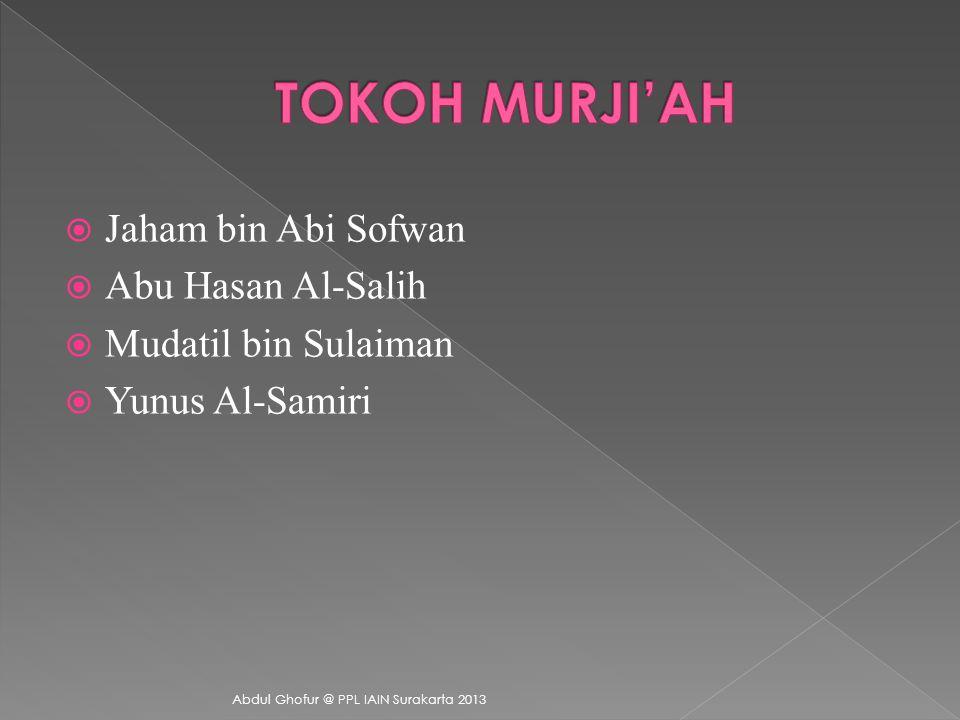 Aliran Murji'ah muncul di Damaskus pada akhir abad pertama Hijriyah. Aliran ini disebut Murji'ah karena dalam prinsipnya mereka menunda persoalan konf