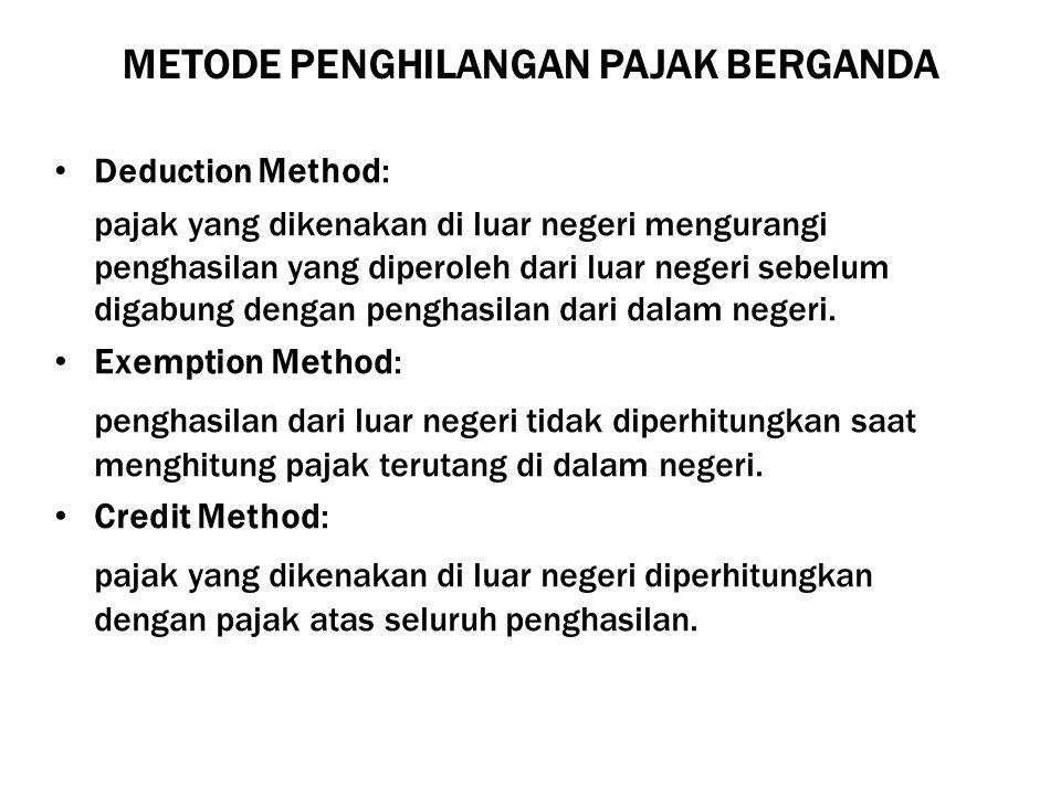 METODE PENGHILANGAN PAJAK BERGANDA Deduction Method: pajak yang dikenakan di luar negeri mengurangi penghasilan yang diperoleh dari luar negeri sebelu