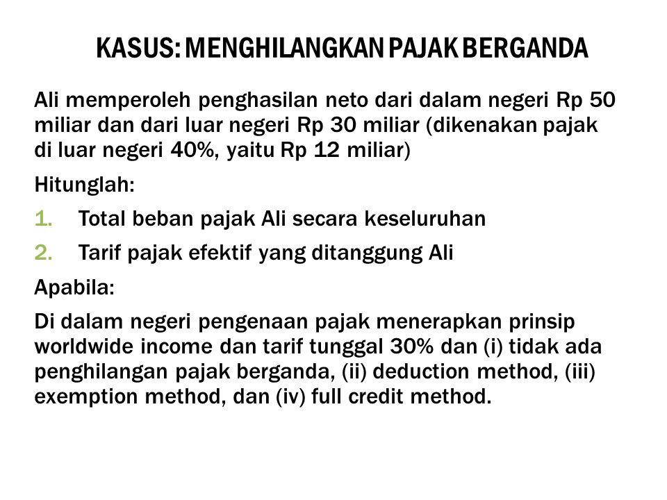 KASUS: MENGHILANGKAN PAJAK BERGANDA Ali memperoleh penghasilan neto dari dalam negeri Rp 50 miliar dan dari luar negeri Rp 30 miliar (dikenakan pajak