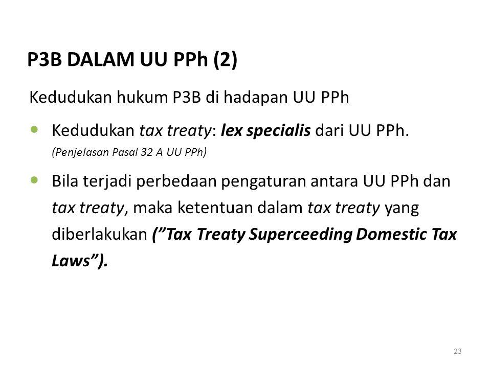 23 Kedudukan hukum P3B di hadapan UU PPh Kedudukan tax treaty: lex specialis dari UU PPh. (Penjelasan Pasal 32 A UU PPh) Bila terjadi perbedaan pengat