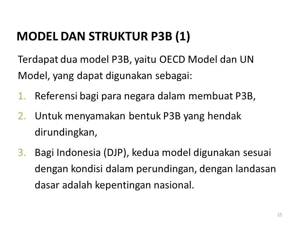 25 Terdapat dua model P3B, yaitu OECD Model dan UN Model, yang dapat digunakan sebagai: 1.Referensi bagi para negara dalam membuat P3B, 2.Untuk menyam