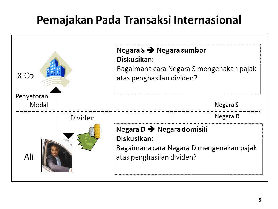 Pemajakan Pada Transaksi Internasional Penyetoran Modal Dividen Negara S  Negara sumber Diskusikan: Bagaimana cara Negara S mengenakan pajak atas pen