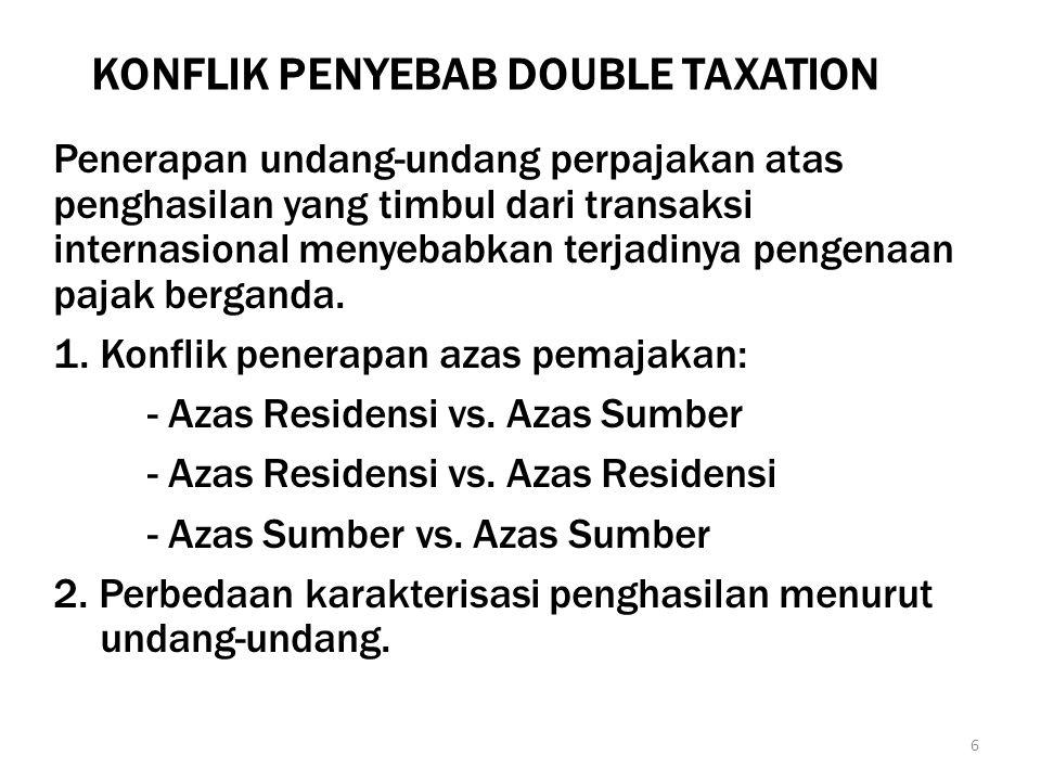 METODE PENGHILANGAN PAJAK BERGANDA Deduction Method: pajak yang dikenakan di luar negeri mengurangi penghasilan yang diperoleh dari luar negeri sebelum digabung dengan penghasilan dari dalam negeri.