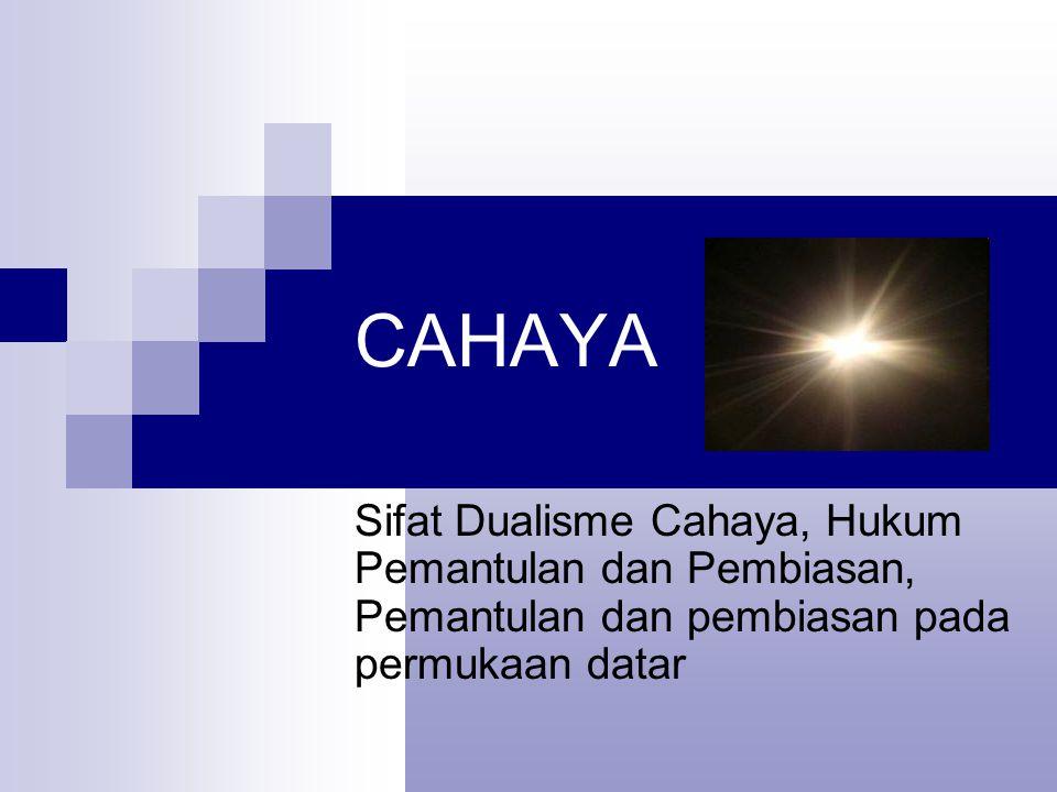 CAHAYA Sifat Dualisme Cahaya, Hukum Pemantulan dan Pembiasan, Pemantulan dan pembiasan pada permukaan datar