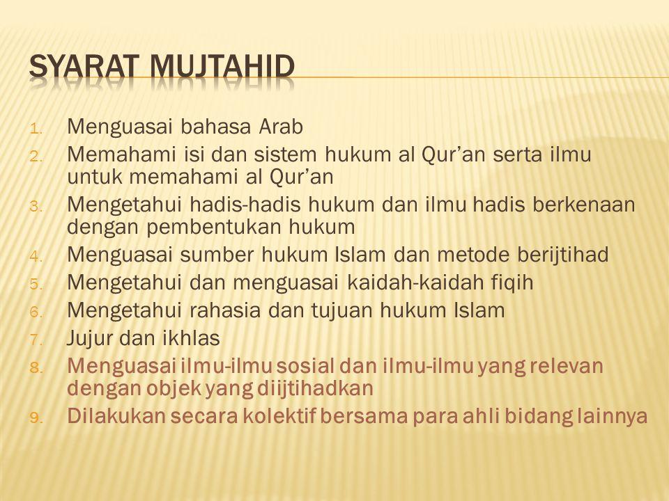1. Menguasai bahasa Arab 2. Memahami isi dan sistem hukum al Qur'an serta ilmu untuk memahami al Qur'an 3. Mengetahui hadis-hadis hukum dan ilmu hadis