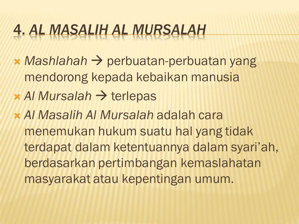  Mashlahah  perbuatan-perbuatan yang mendorong kepada kebaikan manusia  Al Mursalah  terlepas  Al Masalih Al Mursalah adalah cara menemukan hukum suatu hal yang tidak terdapat dalam ketentuannya dalam syari'ah, berdasarkan pertimbangan kemaslahatan masyarakat atau kepentingan umum.