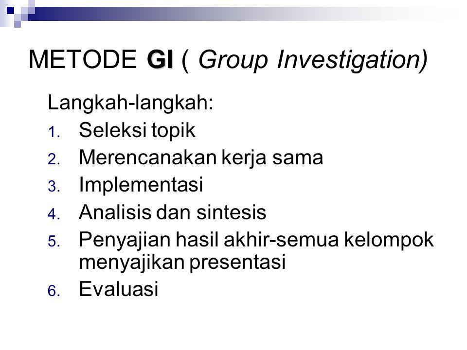 GI METODE GI ( Group Investigation) Langkah-langkah: 1.