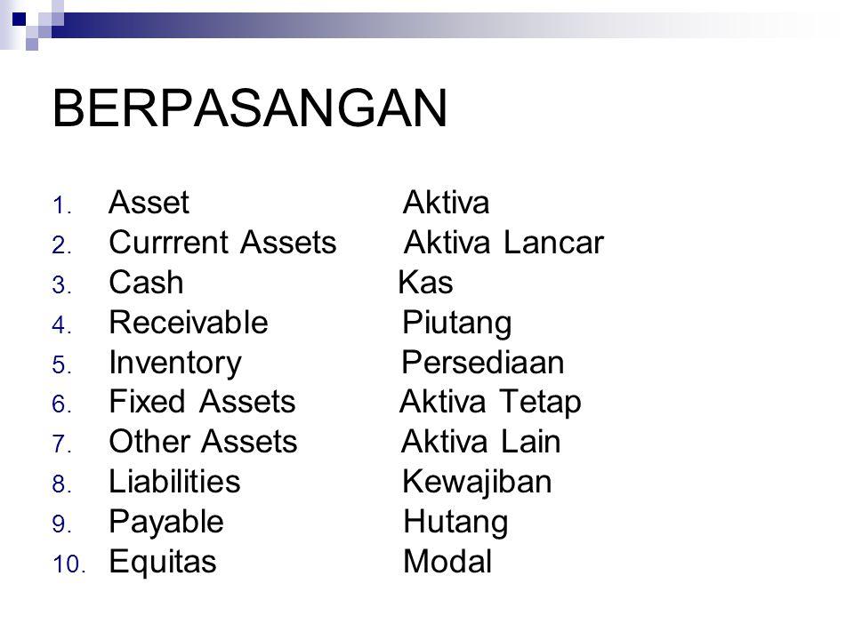 BERPASANGAN 1.Asset Aktiva 2. Currrent Assets Aktiva Lancar 3.