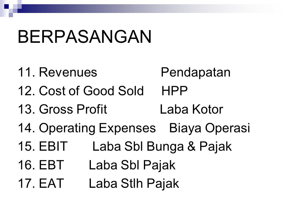BERPASANGAN 11. Revenues Pendapatan 12. Cost of Good Sold HPP 13. Gross Profit Laba Kotor 14. Operating Expenses Biaya Operasi 15. EBIT Laba Sbl Bunga