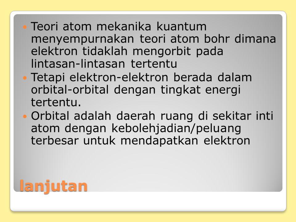 lanjutan Teori atom mekanika kuantum menyempurnakan teori atom bohr dimana elektron tidaklah mengorbit pada lintasan-lintasan tertentu Tetapi elektron