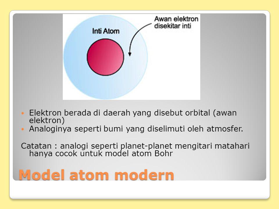 Model atom modern Elektron berada di daerah yang disebut orbital (awan elektron) Analoginya seperti bumi yang diselimuti oleh atmosfer. Catatan : anal