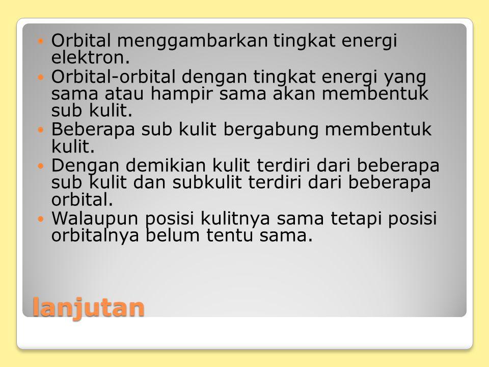 lanjutan Orbital menggambarkan tingkat energi elektron. Orbital-orbital dengan tingkat energi yang sama atau hampir sama akan membentuk sub kulit. Beb
