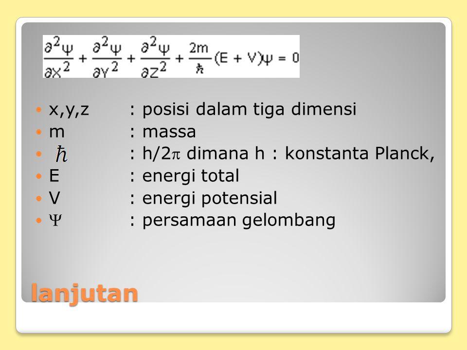 lanjutan x,y,z: posisi dalam tiga dimensi m: massa : h/2 dimana h : konstanta Planck, E : energi total V: energi potensial : persamaan gelombang
