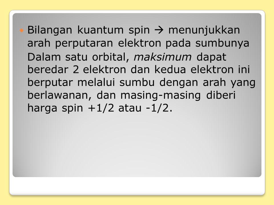 Bilangan kuantum spin  menunjukkan arah perputaran elektron pada sumbunya Dalam satu orbital, maksimum dapat beredar 2 elektron dan kedua elektron ini berputar melalui sumbu dengan arah yang berlawanan, dan masing-masing diberi harga spin +1/2 atau -1/2.