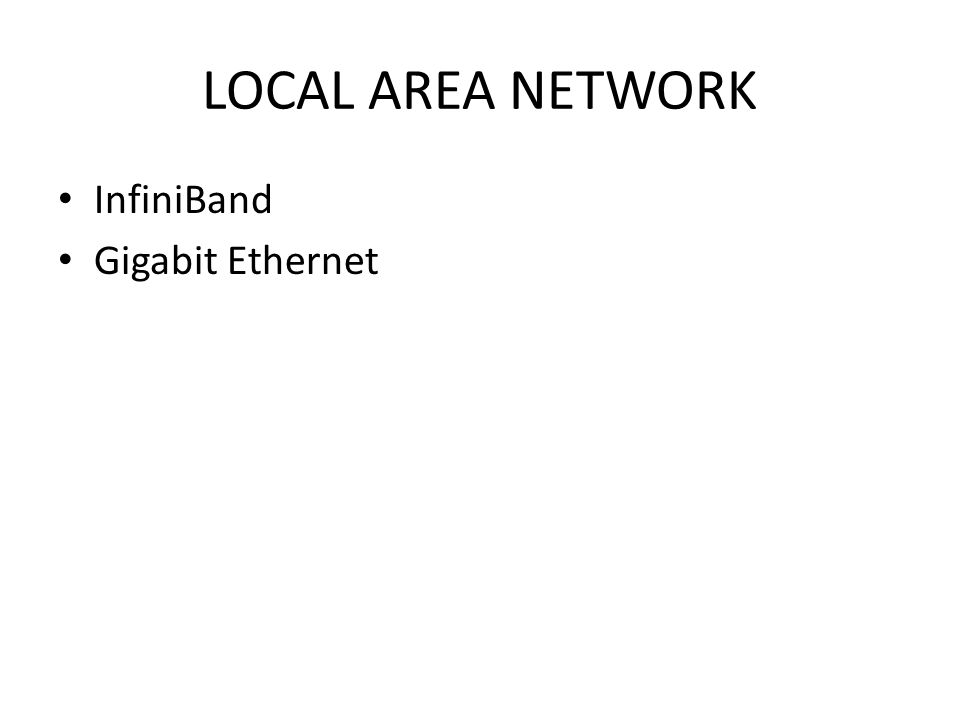 LOCAL AREA NETWORK InfiniBand Gigabit Ethernet
