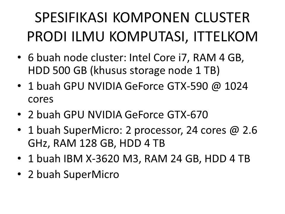 SPESIFIKASI KOMPONEN CLUSTER PRODI ILMU KOMPUTASI, ITTELKOM 6 buah node cluster: Intel Core i7, RAM 4 GB, HDD 500 GB (khusus storage node 1 TB) 1 buah