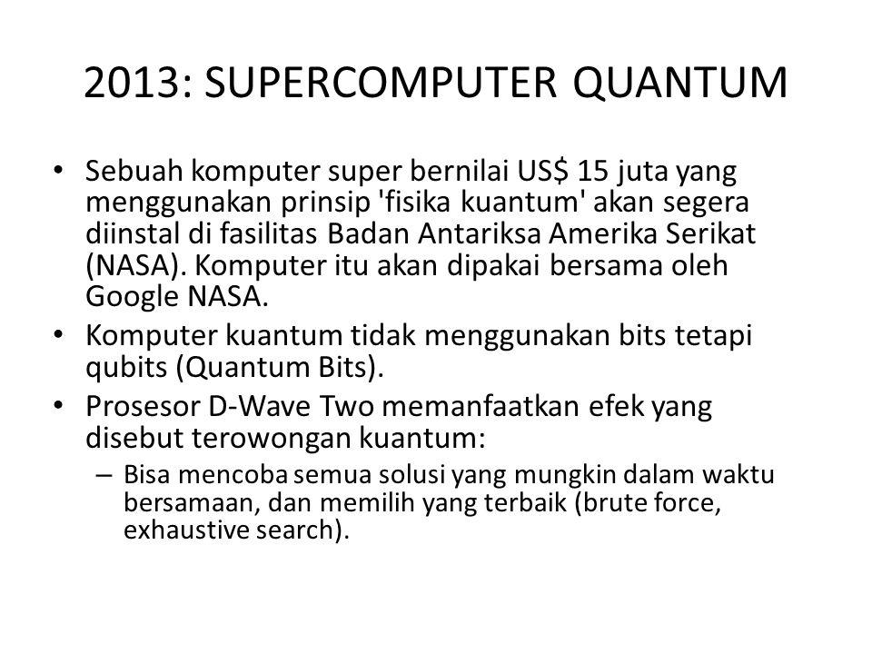 2013: SUPERCOMPUTER QUANTUM Sebuah komputer super bernilai US$ 15 juta yang menggunakan prinsip 'fisika kuantum' akan segera diinstal di fasilitas Bad