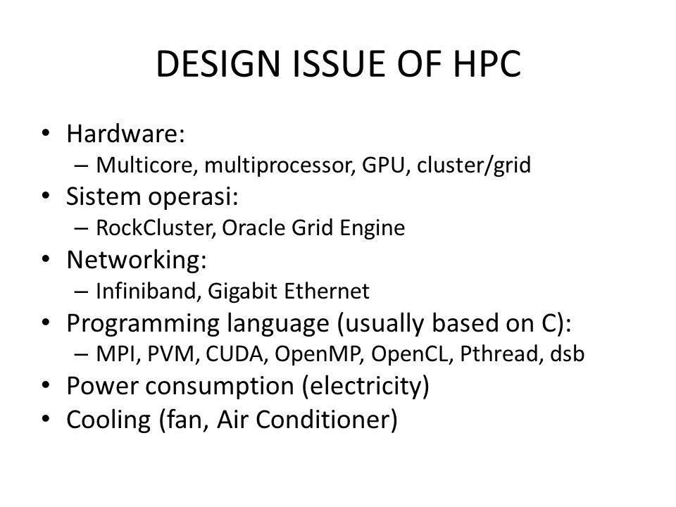 SPESIFIKASI KOMPONEN CLUSTER PRODI ILMU KOMPUTASI, ITTELKOM 6 buah node cluster: Intel Core i7, RAM 4 GB, HDD 500 GB (khusus storage node 1 TB) 1 buah GPU NVIDIA GeForce GTX-590 @ 1024 cores 2 buah GPU NVIDIA GeForce GTX-670 1 buah SuperMicro: 2 processor, 24 cores @ 2.6 GHz, RAM 128 GB, HDD 4 TB 1 buah IBM X-3620 M3, RAM 24 GB, HDD 4 TB 2 buah SuperMicro