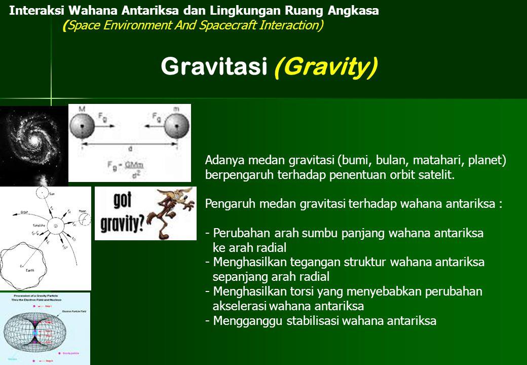 Interaksi Wahana Antariksa dan Lingkungan Ruang Angkasa (Space Environment And Spacecraft Interaction) Gravitasi (Gravity) Adanya medan gravitasi (bum