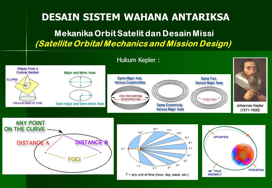 Mekanika Orbit Satelit dan Desain Missi (Satellite Orbital Mechanics and Mission Design) DESAIN SISTEM WAHANA ANTARIKSA Hukum Kepler :