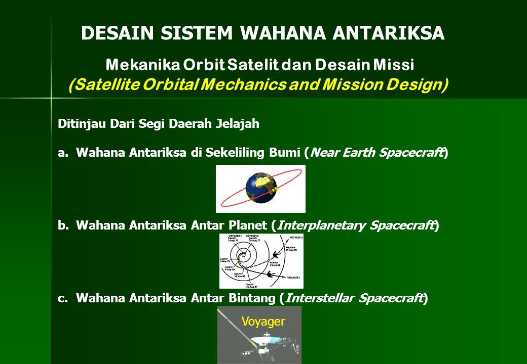 Mekanika Orbit Satelit dan Desain Missi (Satellite Orbital Mechanics and Mission Design) DESAIN SISTEM WAHANA ANTARIKSA Ditinjau Dari Segi Daerah Jela