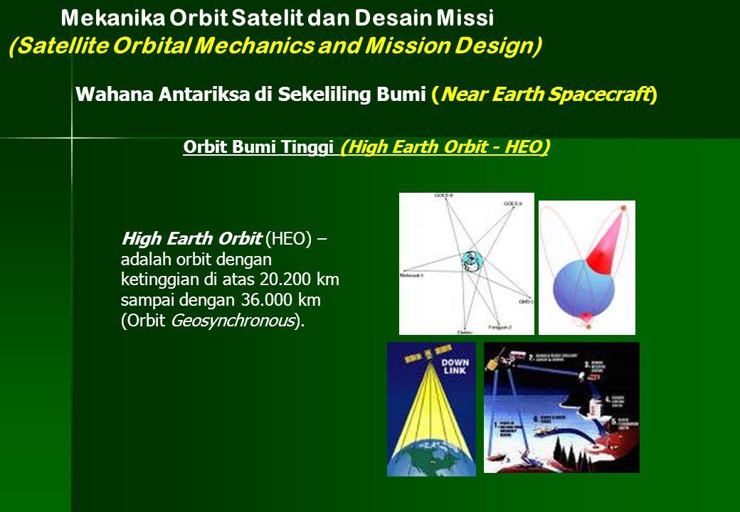 High Earth Orbit (HEO) – adalah orbit dengan ketinggian di atas 20.200 km sampai dengan 36.000 km (Orbit Geosynchronous). Mekanika Orbit Satelit dan D