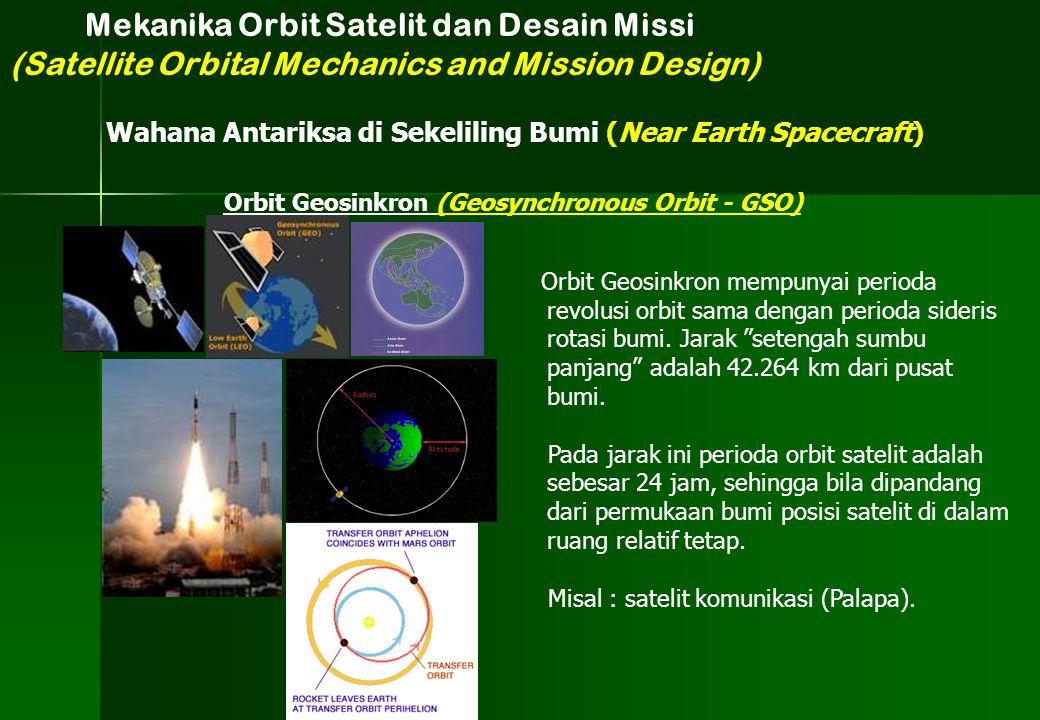 """Orbit Geosinkron mempunyai perioda revolusi orbit sama dengan perioda sideris rotasi bumi. Jarak """"setengah sumbu panjang"""" adalah 42.264 km dari pusat"""