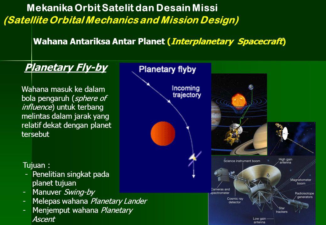Mekanika Orbit Satelit dan Desain Missi (Satellite Orbital Mechanics and Mission Design) Wahana Antariksa Antar Planet (Interplanetary Spacecraft) Pla