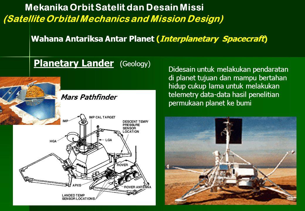 (Geology) Planetary Lander Mars Pathfinder Didesain untuk melakukan pendaratan di planet tujuan dan mampu bertahan hidup cukup lama untuk melakukan te