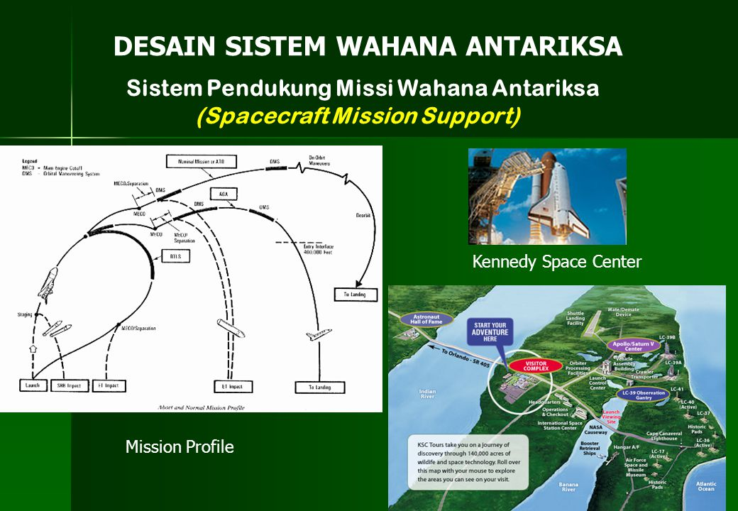 Sistem Pendukung Missi Wahana Antariksa (Spacecraft Mission Support) DESAIN SISTEM WAHANA ANTARIKSA Mission Profile Kennedy Space Center