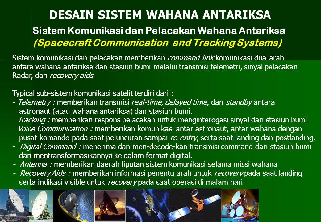 Sistem Komunikasi dan Pelacakan Wahana Antariksa (Spacecraft Communication and Tracking Systems) DESAIN SISTEM WAHANA ANTARIKSA Sistem komunikasi dan