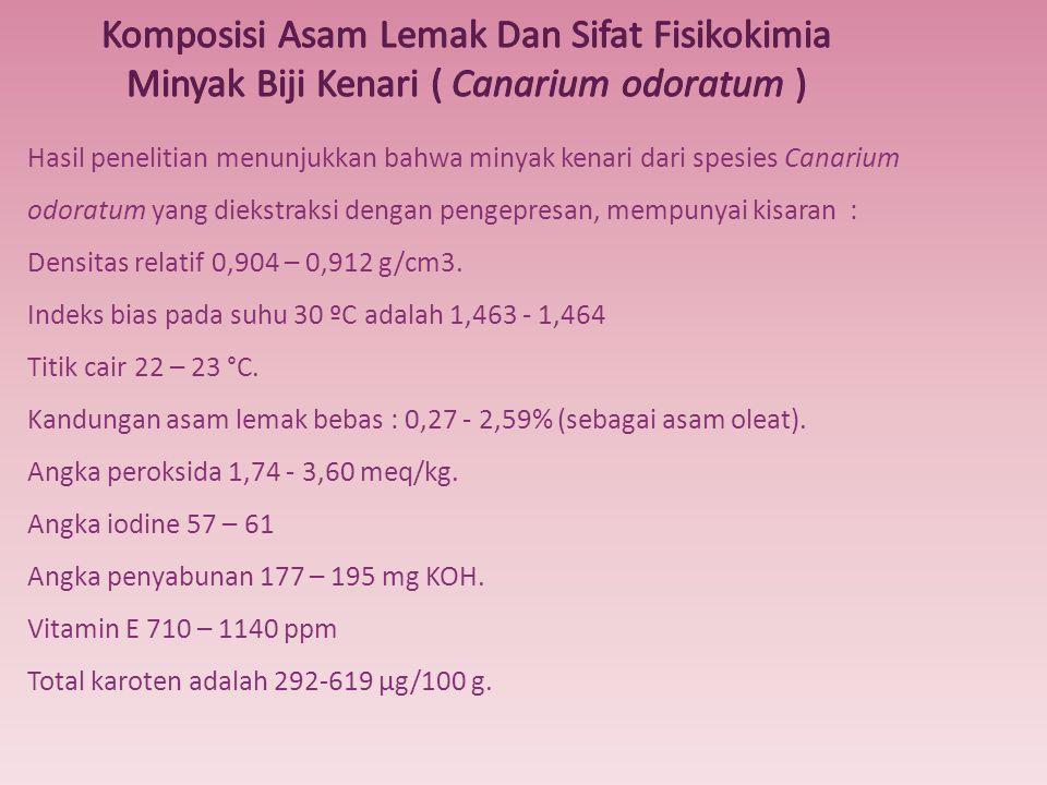 Hasil penelitian menunjukkan bahwa minyak kenari dari spesies Canarium odoratum yang diekstraksi dengan pengepresan, mempunyai kisaran : Densitas rela