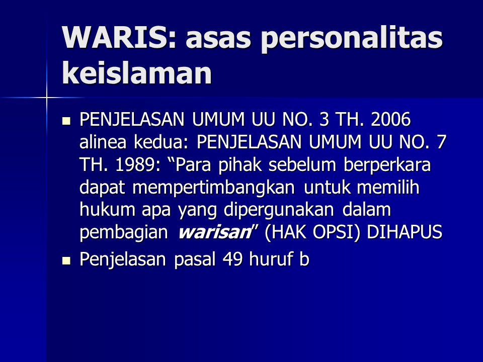 WARIS: asas personalitas keislaman PENJELASAN UMUM UU NO.