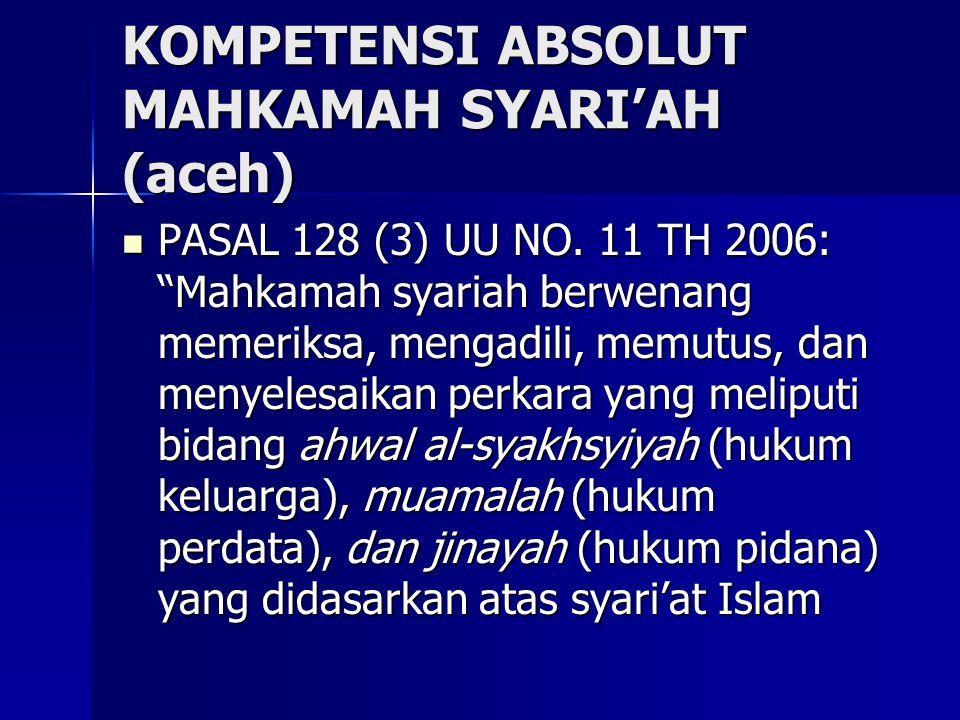 KOMPETENSI ABSOLUT MAHKAMAH SYARI'AH (aceh) PASAL 128 (3) UU NO.