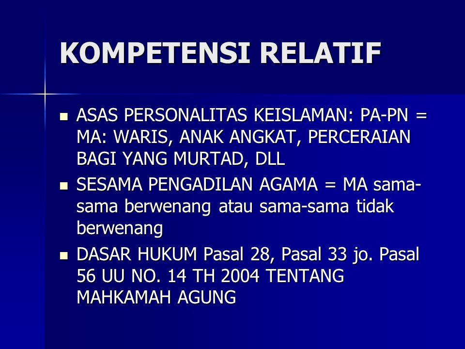 KOMPETENSI RELATIF ASAS PERSONALITAS KEISLAMAN: PA-PN = MA: WARIS, ANAK ANGKAT, PERCERAIAN BAGI YANG MURTAD, DLL ASAS PERSONALITAS KEISLAMAN: PA-PN = MA: WARIS, ANAK ANGKAT, PERCERAIAN BAGI YANG MURTAD, DLL SESAMA PENGADILAN AGAMA = MA sama- sama berwenang atau sama-sama tidak berwenang SESAMA PENGADILAN AGAMA = MA sama- sama berwenang atau sama-sama tidak berwenang DASAR HUKUM Pasal 28, Pasal 33 jo.