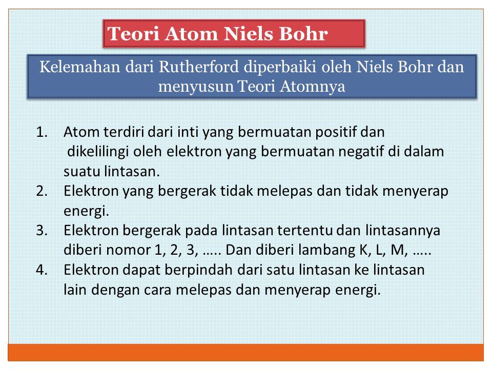 Kelemahan dari Rutherford diperbaiki oleh Niels Bohr dan menyusun Teori Atomnya Teori Atom Niels Bohr 1.Atom terdiri dari inti yang bermuatan positif