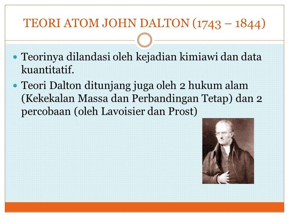 TEORI ATOM JOHN DALTON (1743 – 1844) Teorinya dilandasi oleh kejadian kimiawi dan data kuantitatif. Teori Dalton ditunjang juga oleh 2 hukum alam (Kek