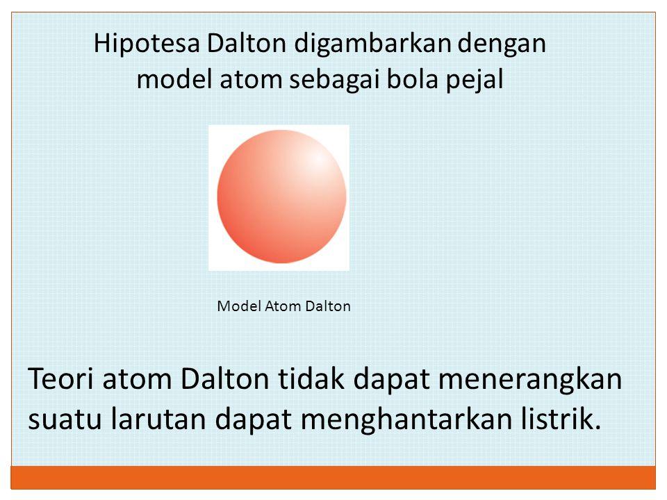 Hipotesa Dalton digambarkan dengan model atom sebagai bola pejal Model Atom Dalton Teori atom Dalton tidak dapat menerangkan suatu larutan dapat mengh