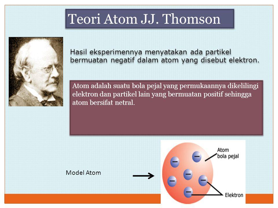 Hasil eksperimennya menyatakan ada partikel bermuatan negatif dalam atom yang disebut elektron. Atom adalah suatu bola pejal yang permukaannya dikelil