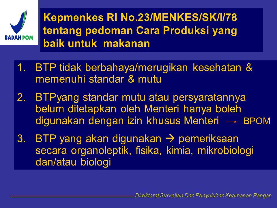 Kepmenkes RI No.23/MENKES/SK/I/78 tentang pedoman Cara Produksi yang baik untuk makanan 1.BTP tidak berbahaya/merugikan kesehatan & memenuhi standar &