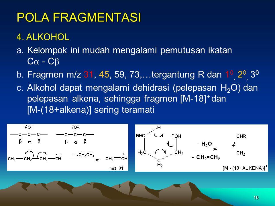 16 POLA FRAGMENTASI 4. ALKOHOL a.Kelompok ini mudah mengalami pemutusan ikatan C  - C  b.Fragmen m/z 31, 45, 59, 73,…tergantung R dan 1 0, 2 0, 3 0
