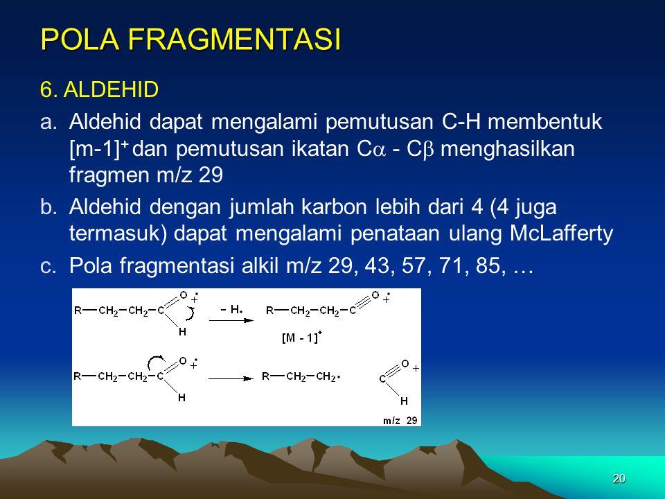 20 POLA FRAGMENTASI 6. ALDEHID a.Aldehid dapat mengalami pemutusan C-H membentuk [m-1] + dan pemutusan ikatan C  - C  menghasilkan fragmen m/z 29 b.