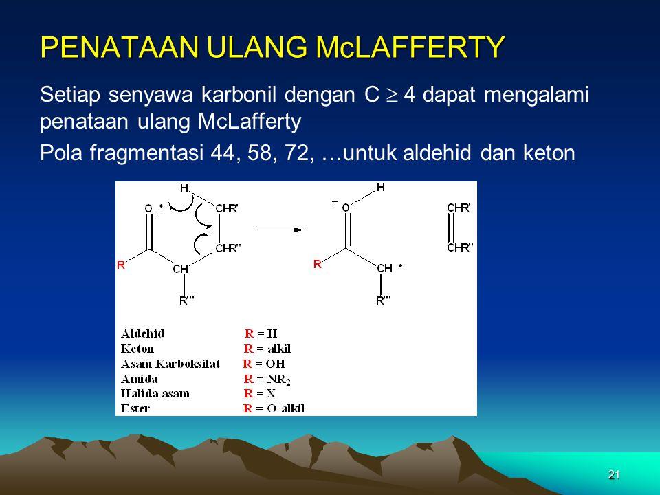 21 PENATAAN ULANG McLAFFERTY Setiap senyawa karbonil dengan C  4 dapat mengalami penataan ulang McLafferty Pola fragmentasi 44, 58, 72, …untuk aldehi